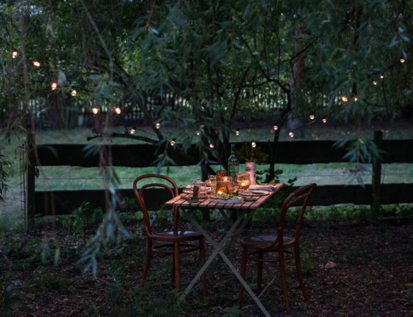 Romantisch, rustikal gedeckter Tisch mit Kerzenschein